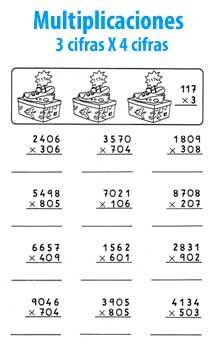 Multiplicación De 3 Cifras Por 4 Cifras Ejercicios De Calculo Actividades De Multiplicación Ejercicios Matematicas 5 Primaria