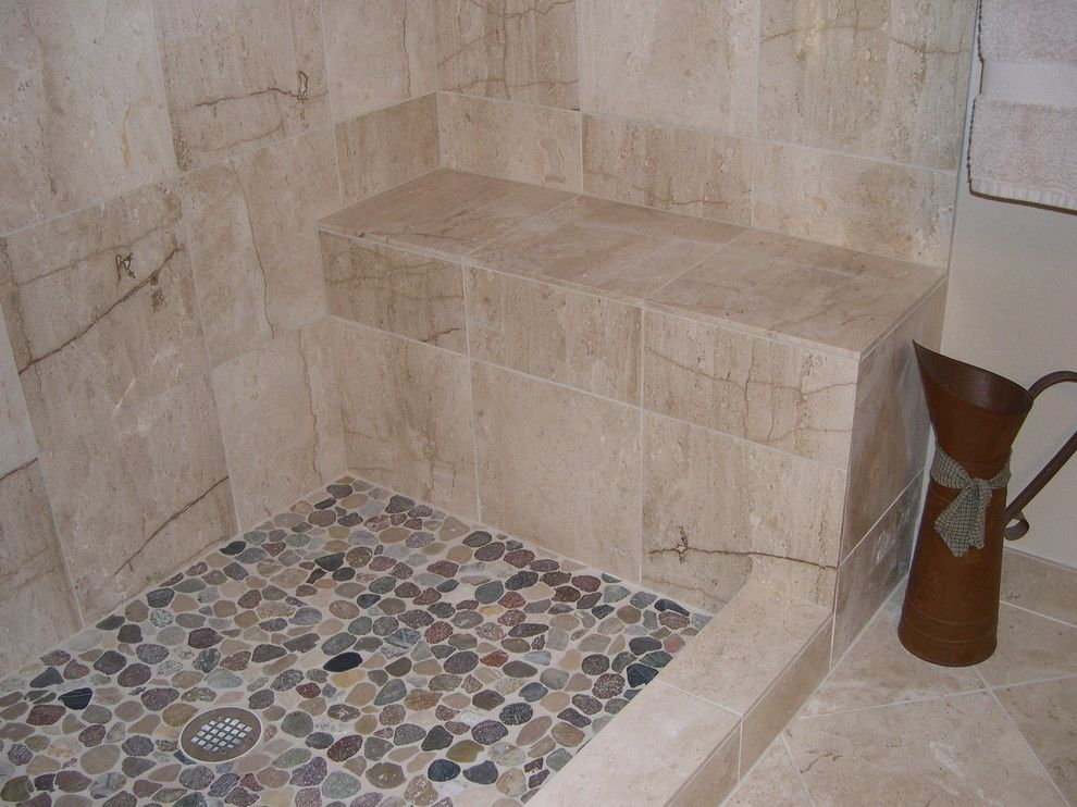 Pebble Stone Shower Floor Bathroom Traditional With None