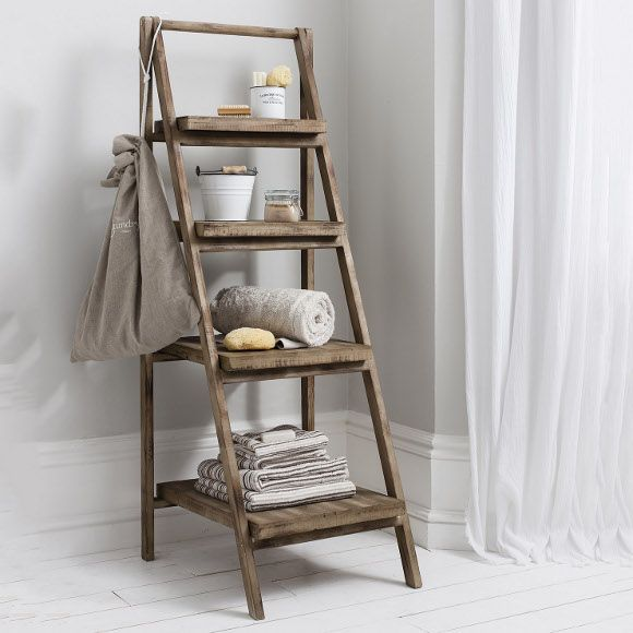Canvas Of Cottage Bathroom Look? Add This Bathroom Ladder Shelf
