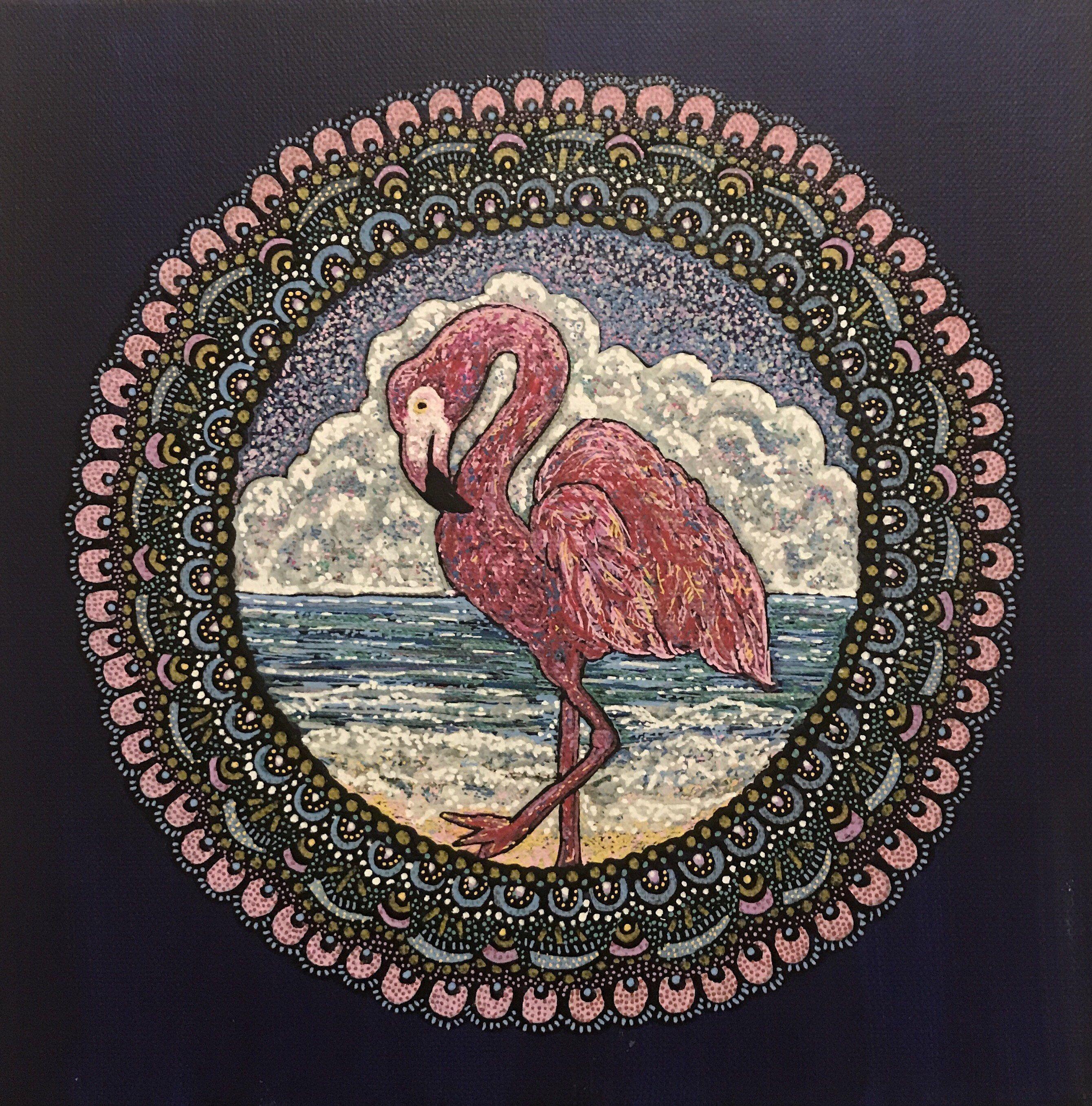 Flamingo mandala energy painting by mypathinspired on etsy