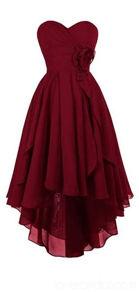 Dark Red High Low Chiffon Cheap Homecoming Dresses Online, Cheap Short Prom Dresses, CM759