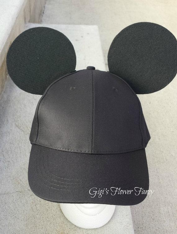 white mickey baseball hat mouse ears black cap