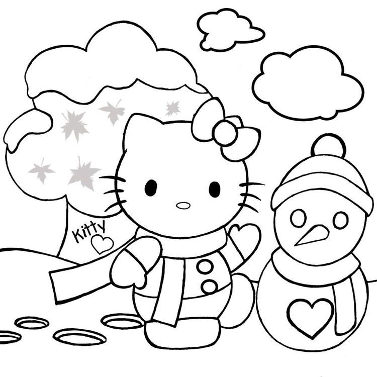Hello Kitty On Snow Christmas Holiday Coloring | Hello ...