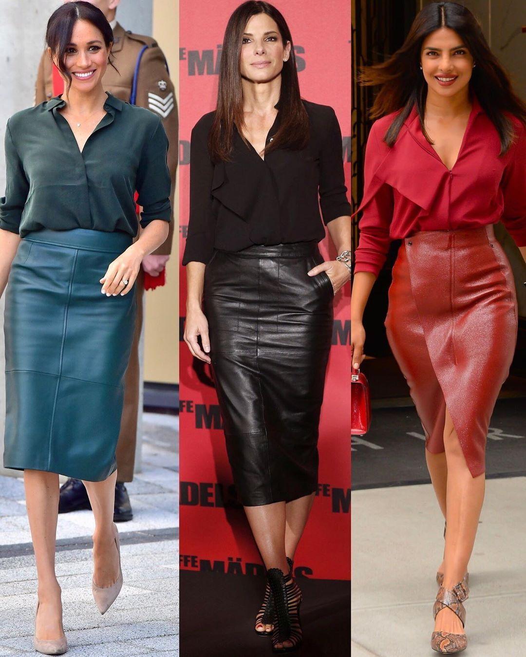 "My Binoculars on Instagram: ""The Leather Skirt … Who Wore it Better .. 1.2.3 pick your favorite ☝🏻 . . . . . #mubinoculars #fashionblog #meghanmarkle #sandrabullock…"""
