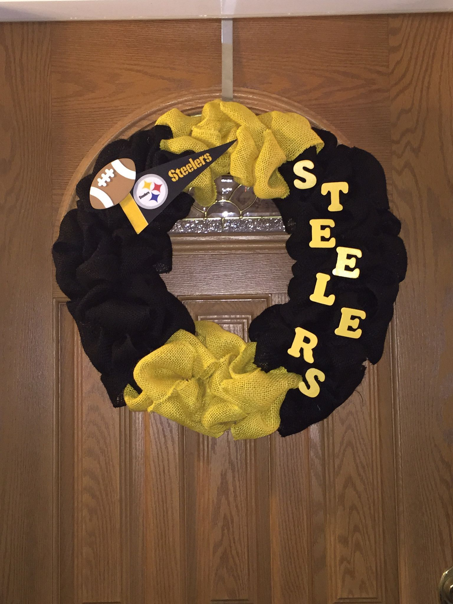 Steelers Black and yellow burlap Steelers in wooden letters pennant ...