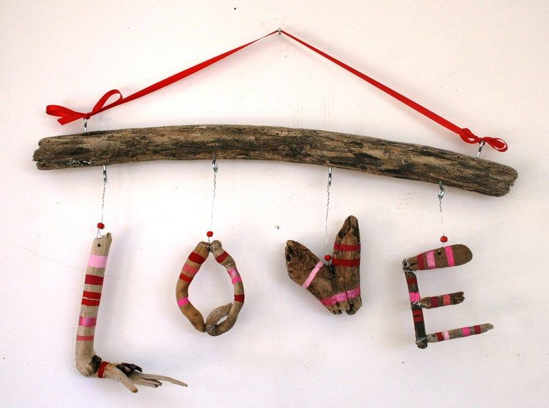 Photo of Hanging LOVE Driftwood Sign Made to Order | E