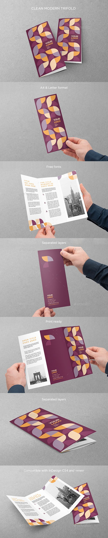 Clean Modern Trifold Pinterest Brochure