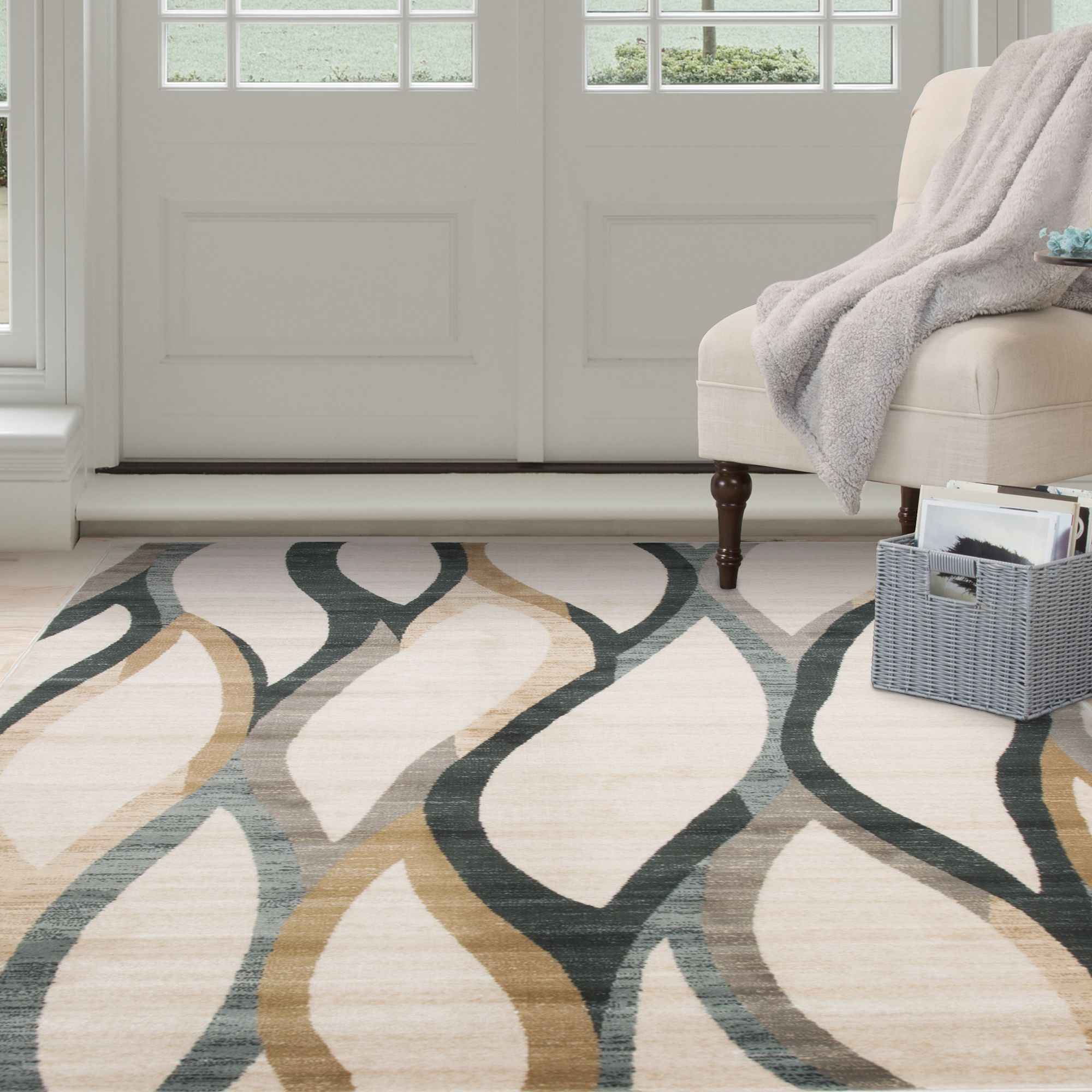 rug for living room size%0A Windsor Home Opus Contemporary Curves Area Rug