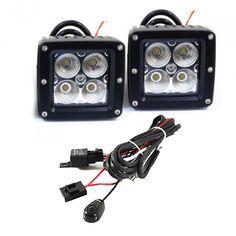 20w cube led flood fog driving light set pair with wiring rh pinterest com