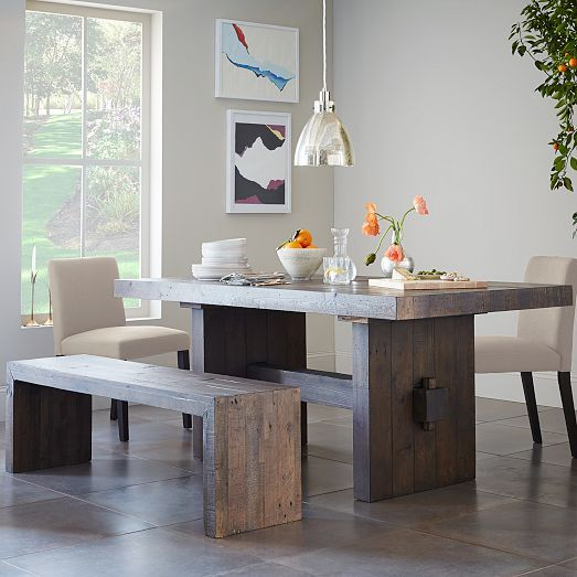 Emmerson 174 Reclaimed Wood Dining Bench Stone Gray Wood