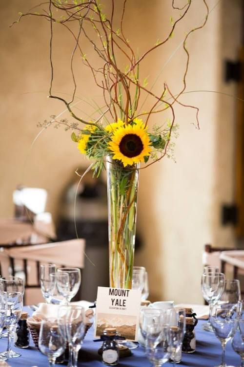 Bright Sunshine Curly Willow Centerpieces Bridal Shower Planning Sunflower Table Arrangements