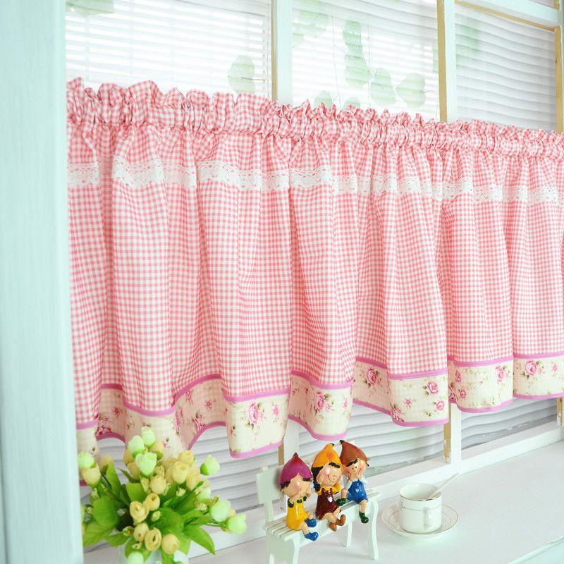 Günstige Freies verschiffen Elegante floral Red plaid spitze - gardinen fürs wohnzimmer