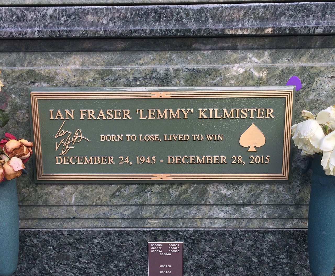 Lemmy's grave at Forest Lawn, Hollywood