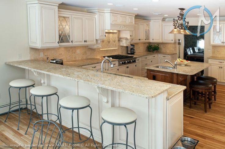 cream colored kitchens | Kashmir gold granite w/ cream ...