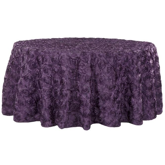 Wedding Rosette Satin 120 Round Tablecloth   Plum (Purple)