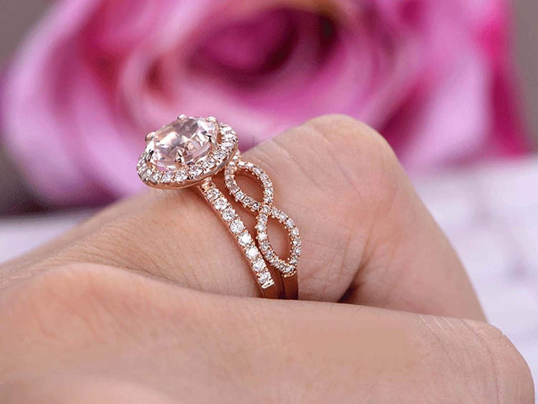 Dabangjewels 8mm Round Cut Morganite & Diamond 14k Rose Gold Over ...