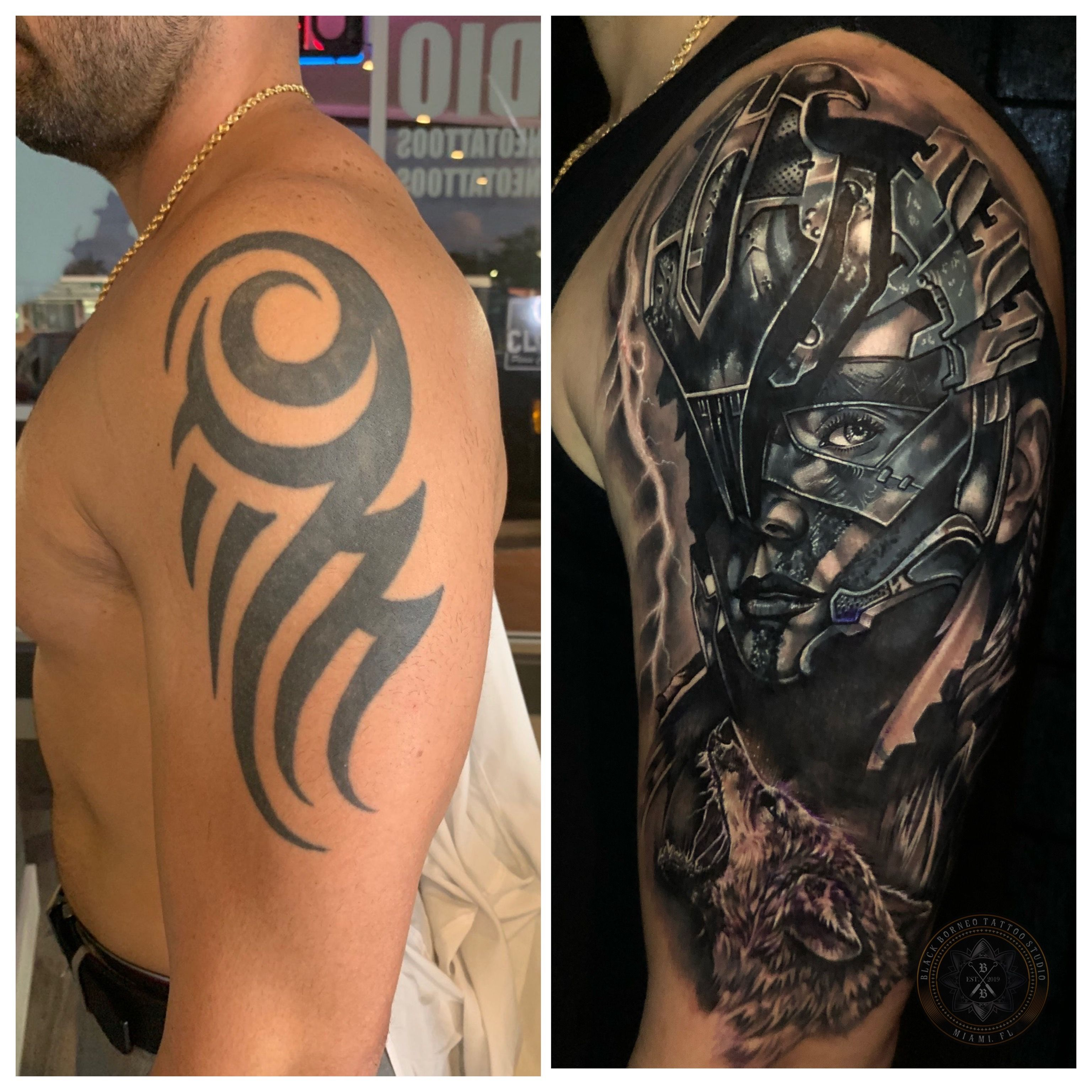 Cover Up Black And Grey In 2020 Borneo Tattoo Cover Tattoo Cover Up Tattoos