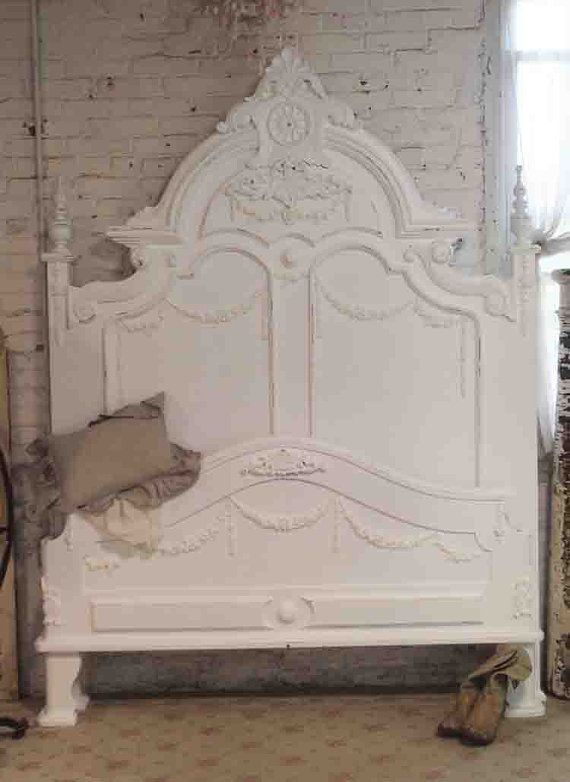 French Bed Painted Cottage Shabby Chic Romantic Queen