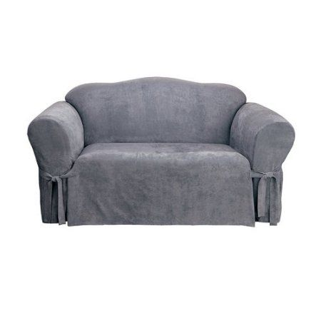Sure Fit Soft Suede Loveseat Slipcover Blue Slipcovers Loveseat Slipcovers Cushions On Sofa