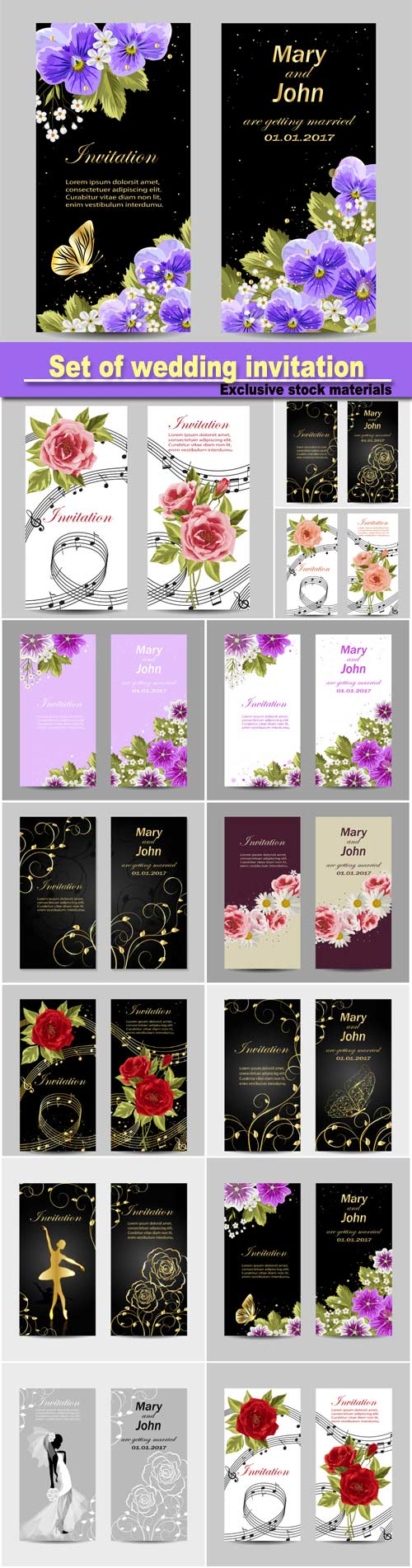 wedding invite background design%0A Set of wedding invitation cards design  beautiful flowers  vector  illustration Source  http