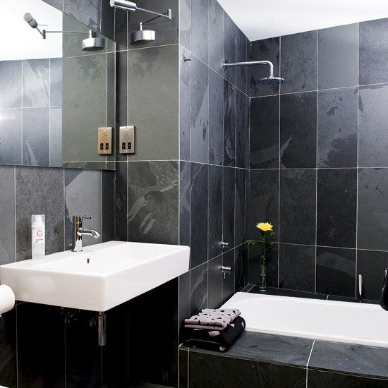 Small Black Bathroom Understated White Sanitaryware Provides A Contrast To The Dark Slate Walls