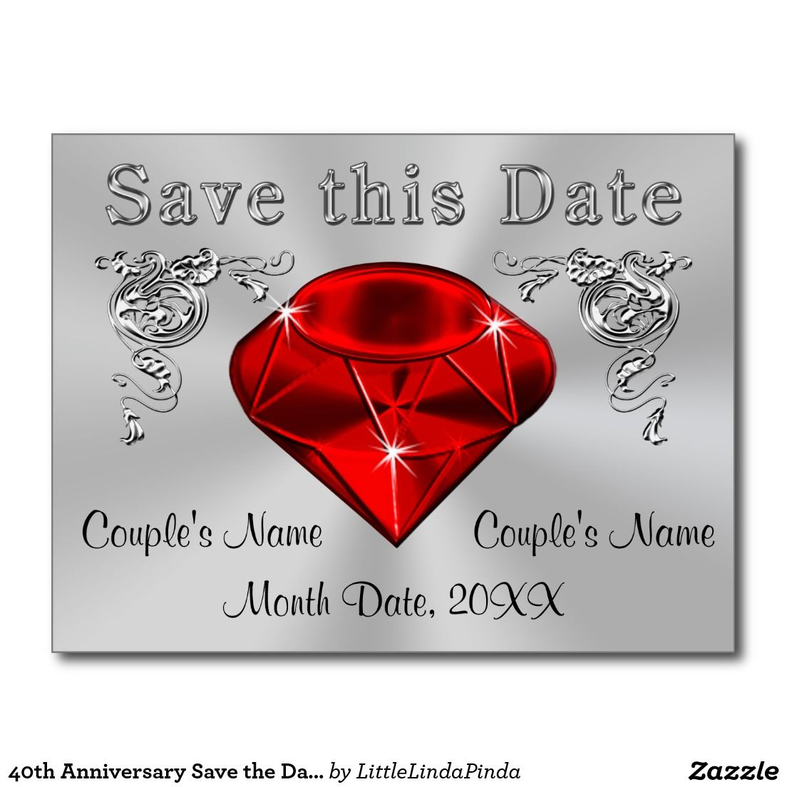 40th Anniversary Save the Date Cards PERSONALIZED | Pinterest | 40th ...