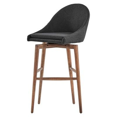 Conrad Walnut Modern Swivel 29 Bar Stool Set Of 2 Charcoal