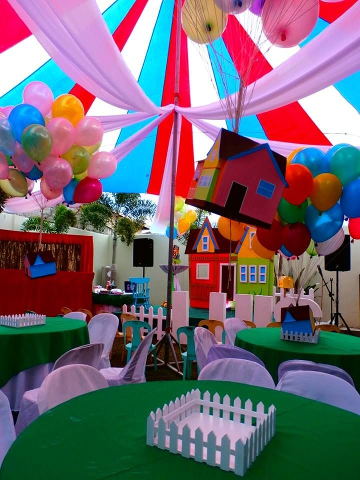 Floating house of disney up party theme party for Home decor theme ideas
