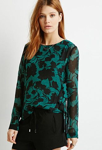 Floral Printed Side-Tie Blouse | LOVE21 - 2052289021