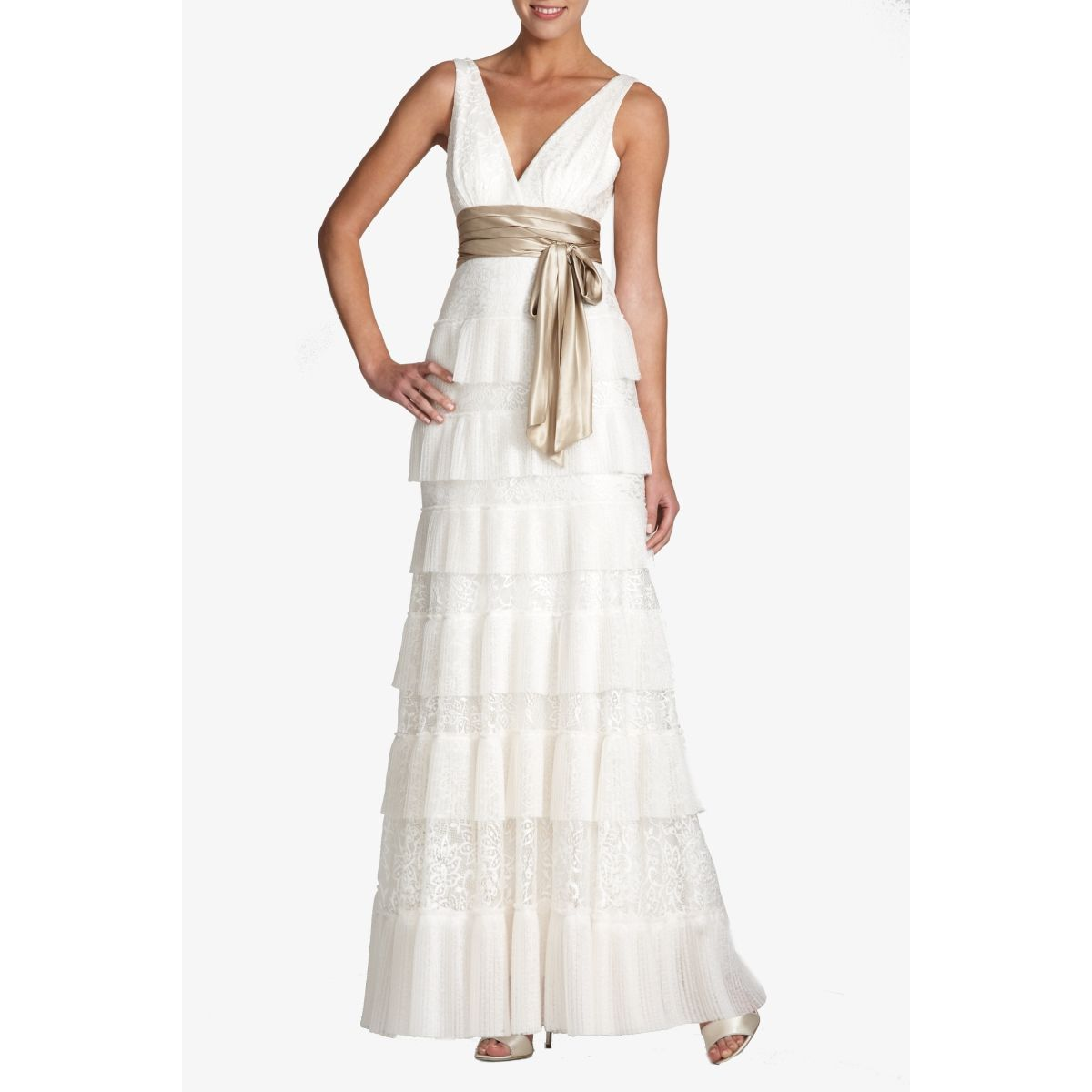 Bcbg Max Azria Carly Tiered Lace Evening Gown 548 Lace