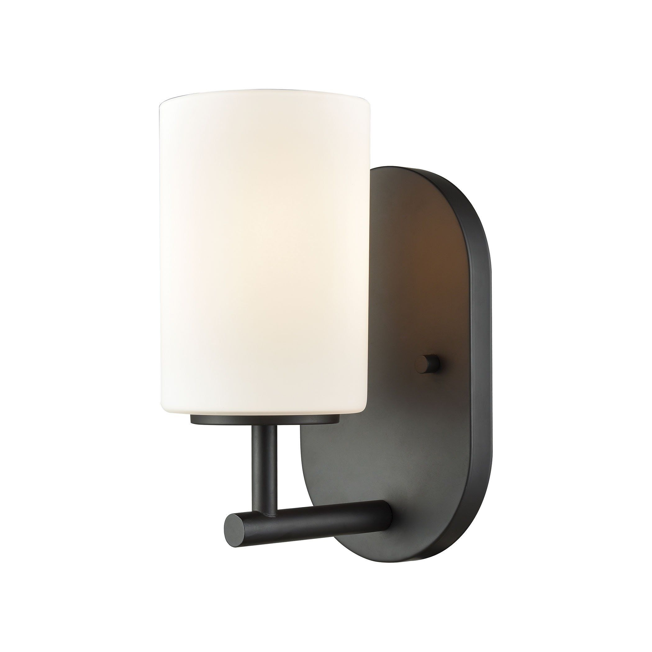 pemlico 1 light vanity in oil rubbed bronze with white glass 57140 1 rh pinterest ca