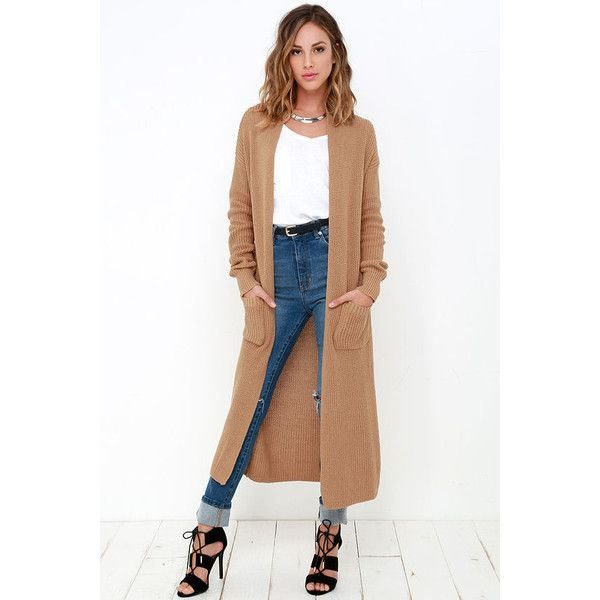 Portrait Gallery Tan Long Cardigan Sweater ($64) ❤ liked on ...