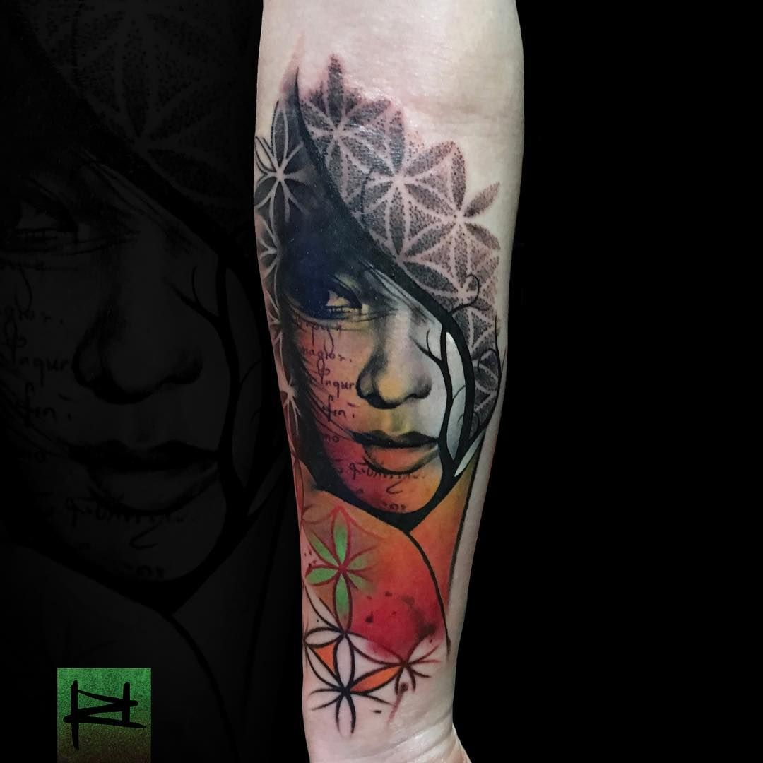 Abstract Portrait Tattoo By Rich Harris Abstract Tattoo Portrait Tattoo Different Styles Of Tattoos