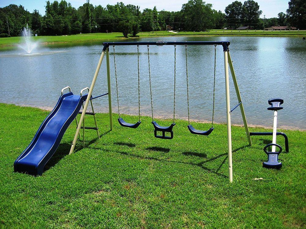Metal Swing Set Kids Outdoor Playset Slide Seesaw Teeter Totter