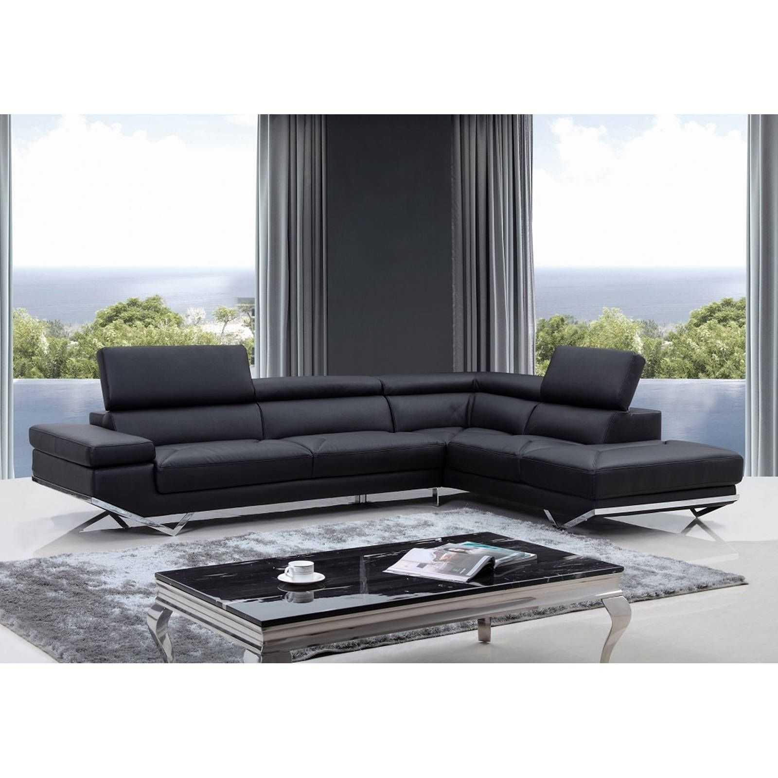walden modern black leather l shaped sofa with adjustable headrests rh pinterest ch