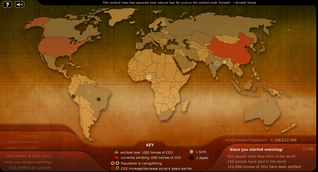 Earths Map%0A IMPACT Breathing earth  the total amount of births  deaths  and carbon  emissions