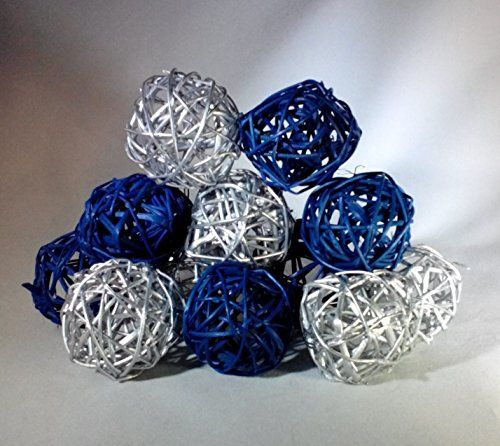 Decorative Bowl Filler Balls Decorative Spheres Blue And Silver Rattan Vase Filler Winter