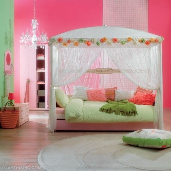 dream bedroom girly girl decor in bright pink and lime green for a burst of color - Dream Bedroom Designs