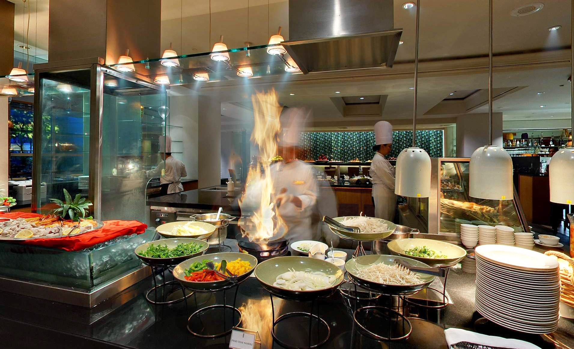 live cooking station at cafe one restaurant cafe one all day rh pinterest com
