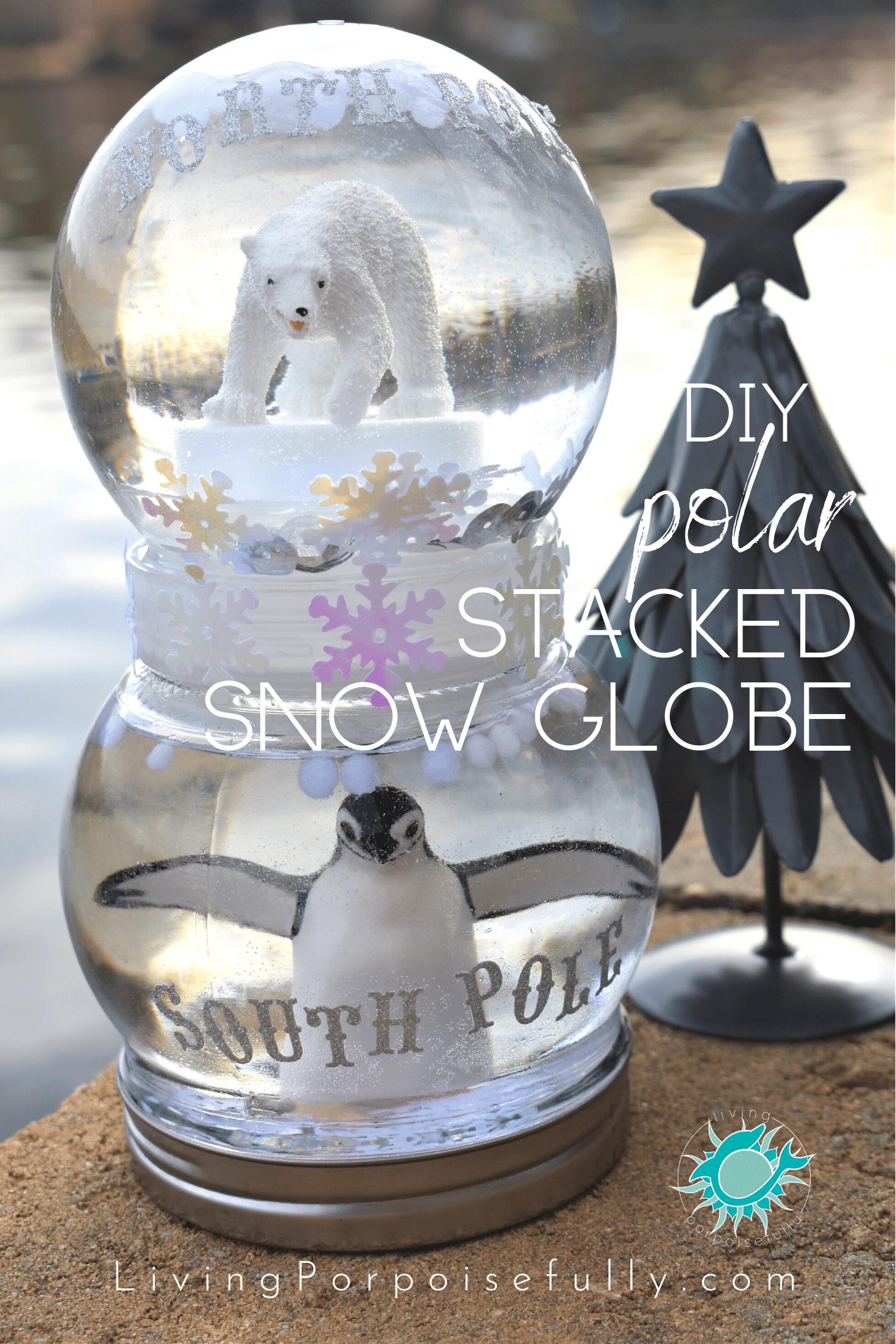 DIY Polar Stacked Snow Globe Snow globes, Snow globe