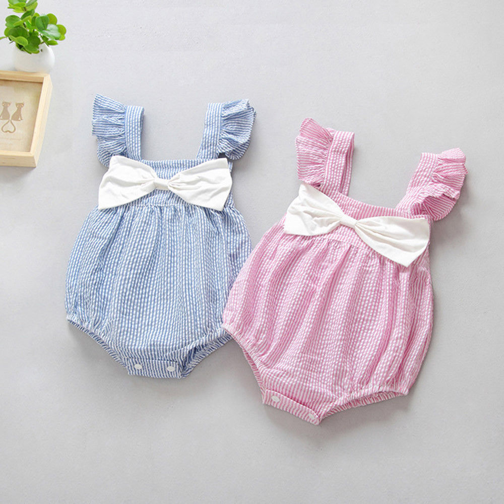 8125f4115c8b  6.94 - Newborn Baby Girls Sleeveless Striped Bowknot Clothes Jumpsuit  Romper Outfits  ebay  Fashion