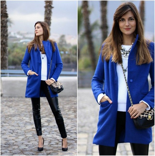 Abrigo azul electrico zara