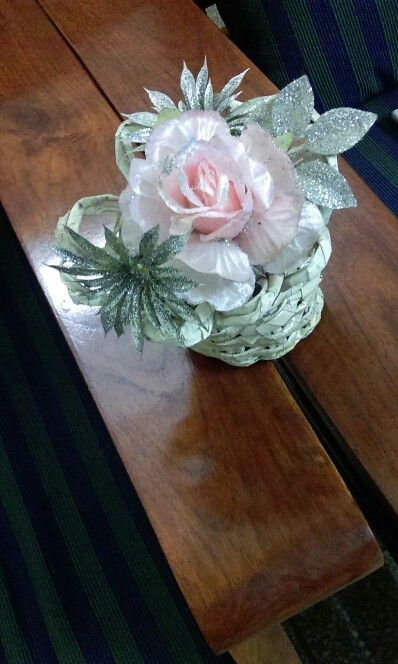 Handmade paper weave basket with flowers