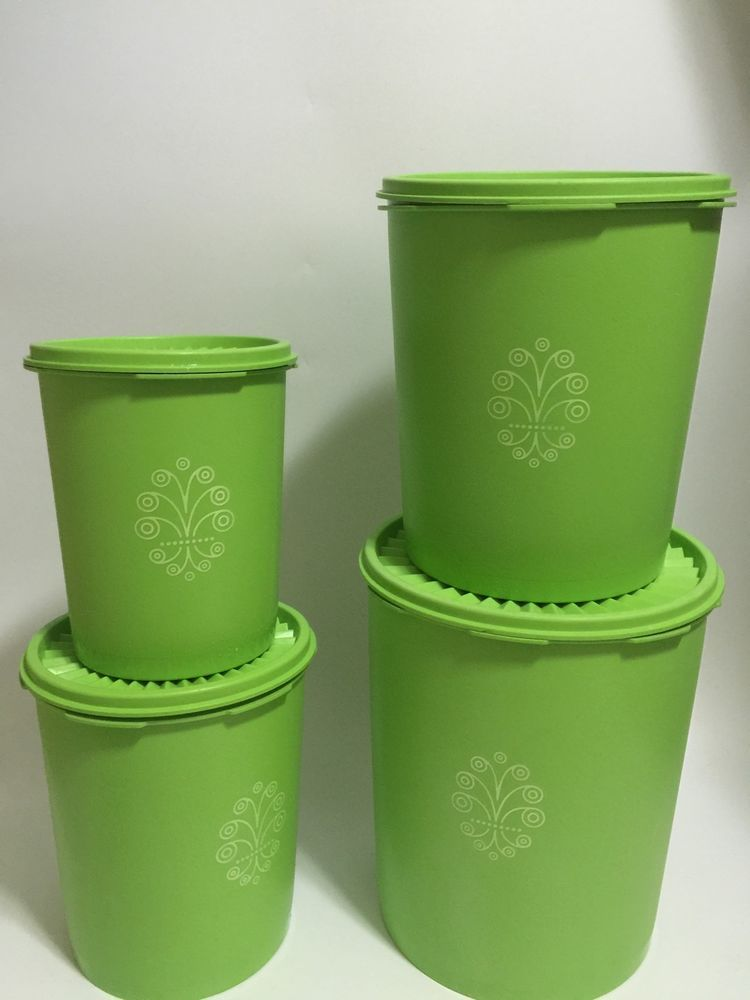 4 Vintage Tupperware Lime Large Green Round Storage Container Set W/Lid