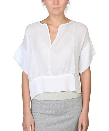 Another great find on #zulily! White Cape-Sleeve Notch Neck Top #zulilyfinds Love this style
