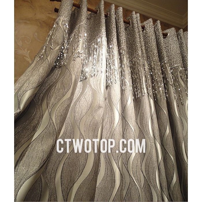 Modern Luxury Fabric Gray And Silver Tassels Striped Curtains