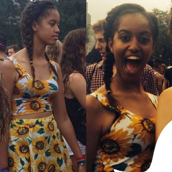 Malia Obama Spotted In A Print Denim Circle Skirt