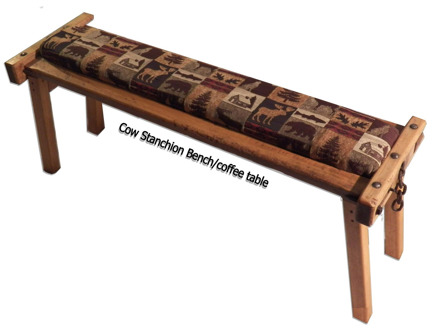 Antique Wooden Cow Stanchion Bench And Coffee Table Top