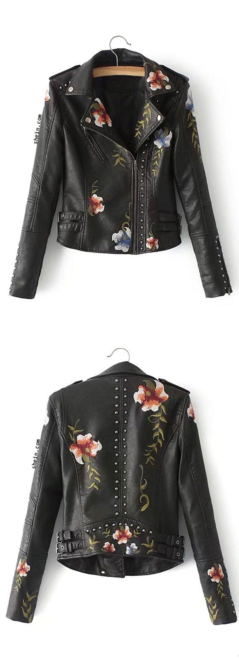 Flower Embroidery studded Detail PU Biker Jacket