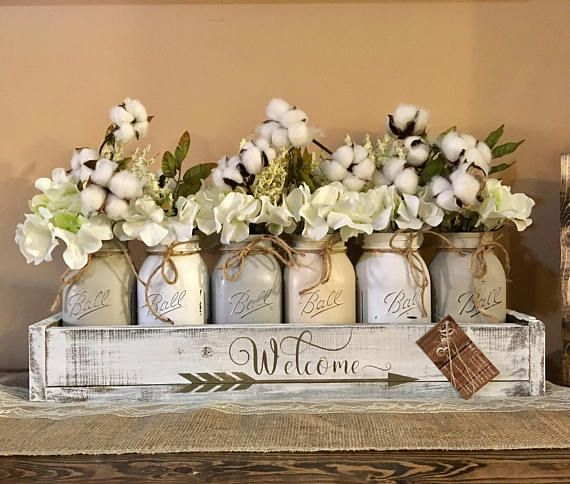 mason jar centerpiece grey mason jars cotton decor cotton wreath rh pinterest com